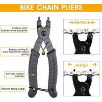 Kit de 3 Outils de Chaîne Vélo Dérive Chaine Vélo + Pince DémontAttache Rapide + Vérificateur de Chaine Outils de Réparation en Acier INOX pour Réparer Chaine de Vélo VTT 7-12 Vitesse