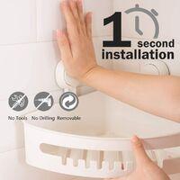 Support de douche d'angle à ventouse sans perçage étagère de douche amovible pour salle de bain, tenue maximale, 22lbs, organisateur de caddie, étagère de coin de douche étanche et étanche à l'huile pour salle de bain et cuisine - blanc
