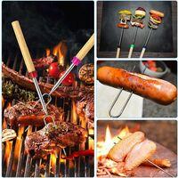 Brochettes de Barbecue Longue, 8 pièces Bâtonnets à rôtir Extensible, Bâtonnets à rôtir à la Guimauve Feu, Forme en U Fourchette à Hot-Dog avec Sac de Rangement (12-32 Pouces)