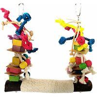 Grande balançoire perroquet, balançoire oiseau, jouet perroquet, filets en corde de chanvre pour perruches, calopsittes, perruches, aras, perroquets, oiseaux d'amour, pinsons