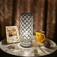 Lampe de Table en cristal Lampes de chevet modernes pour chambre à coucher Abat-jour de bureau en argent Remplacement pour lampes de chevet Salon décoratif