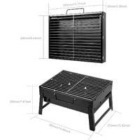 Barbecue portatif petit barbecue à charbon de table de ménage pliable avec 2 barbecues en acier inoxydable extérieur/camping/pique-nique