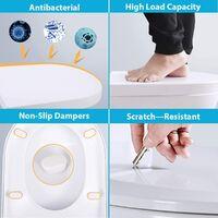 Abattant WC,Siège de Toilette en Forme de D Anti-Bactérienne Lunette de Toilette avec Fermeture en Douceur Dégagement Rapide et Charnière Réglable et Facile à Nettoyer Bon pour Enfant et Adulte-Blanc