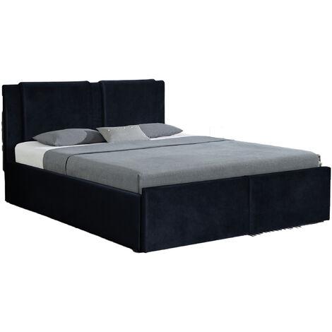 Ensemble Floki lit coffre velours noir 160x200 cm 2 tiroirs + matelas nuage 24 cm
