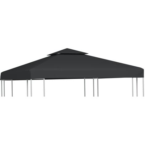 Gazebo Cover Canopy Replacement 310 g / m Dark Grey 3 x 3 m - Grey