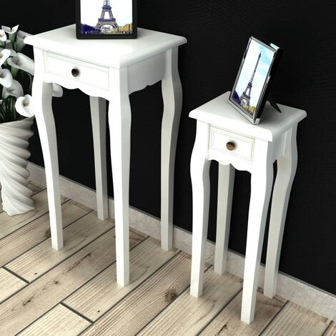 Nesting Side Table Set 2 Pieces with Drawer White - White