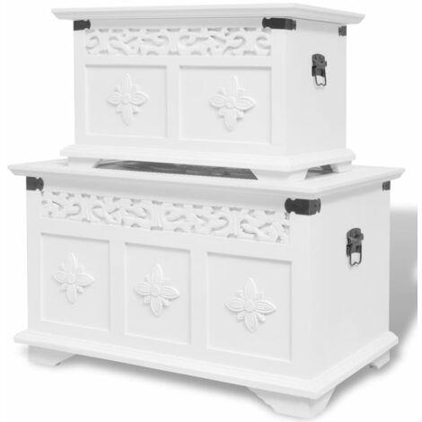 Two Piece Storage Chest Set White - White