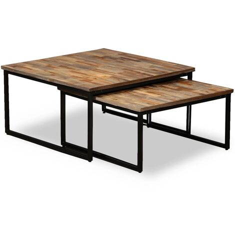 Nesting Coffee Table Set 2 Pieces Solid Reclaimed Teak - Brown
