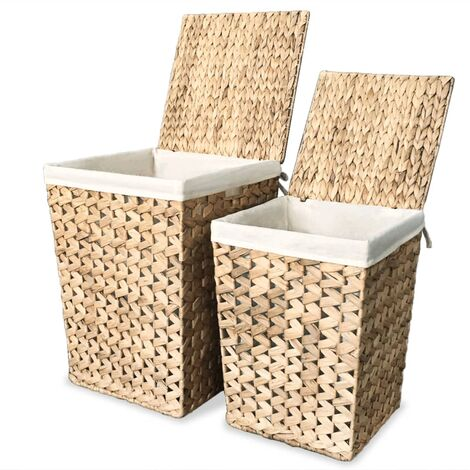 Laundry Basket Set 2 Pieces Water Hyacinth - Brown