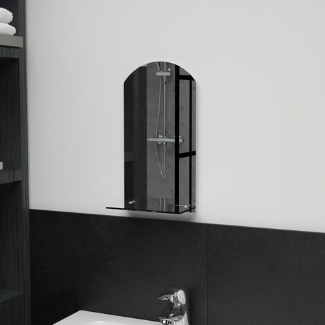 Wall Mirror with Shelf 20x40 cm Tempered Glass - Silver