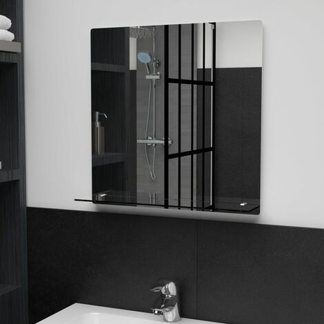 Wall Mirror with Shelf 50x50 cm Tempered Glass - Silver