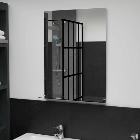 Wall Mirror with Shelf 50x70 cm Tempered Glass - Silver