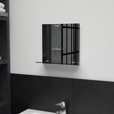 Wall Mirror with Shelf 30x30 cm Tempered Glass - Silver