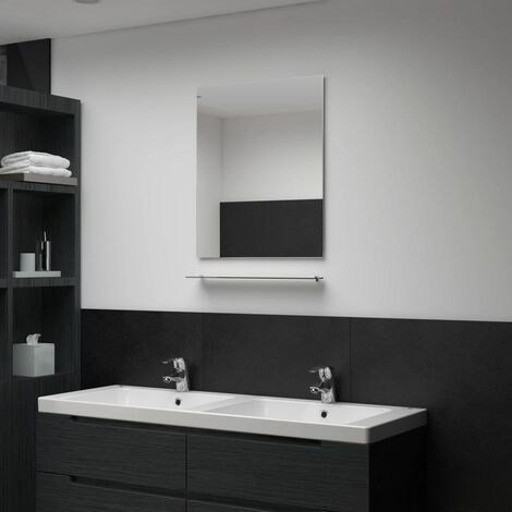 Wall Mirror with Shelf 50x60 cm Tempered Glass - Silver