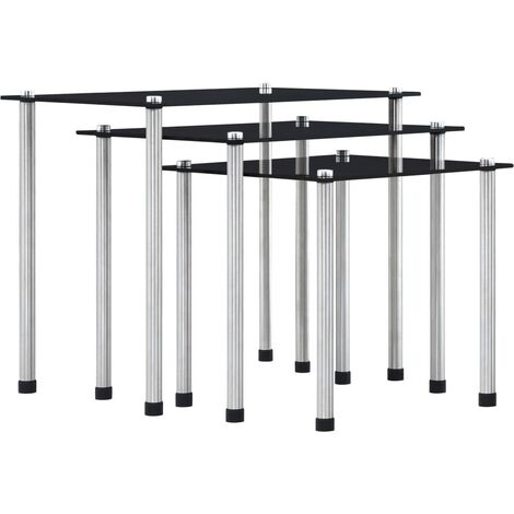 Nesting Tables 3 pcs Black Tempered Glass - Black