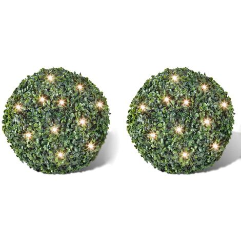 Boxwood Ball Artificial Leaf Topiary Ball 35 cm Solar LED String 2 pcs - Green