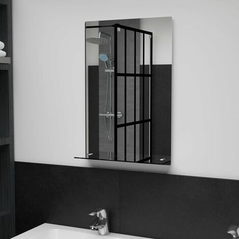 Wall Mirror with Shelf 40x60 cm Tempered Glass - Silver