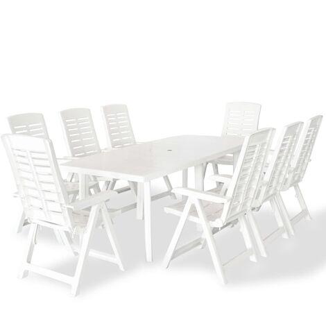 9 Piece Outdoor Dining Set Plastic White - White