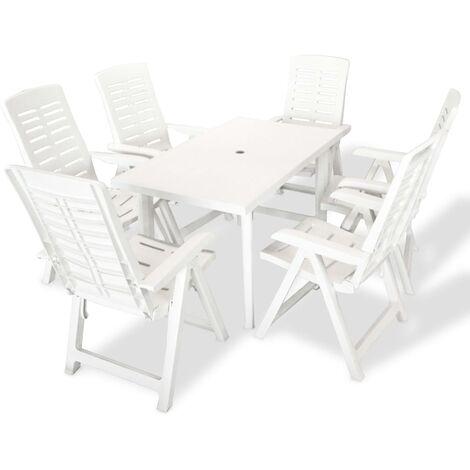 7 Piece Outdoor Dining Set Plastic White - White