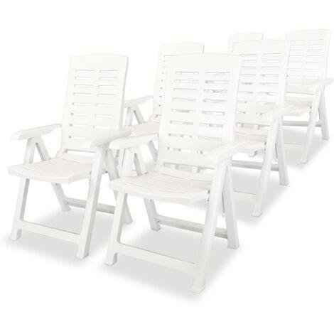 Reclining Garden Chairs 6 pcs Plastic White - White