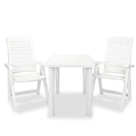 3 Piece Bistro Set Plastic White - White
