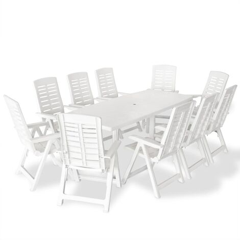 11 Piece Outdoor Dining Set Plastic White - White