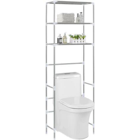 3-Tier Storage Rack over Toilet Silver 53x28x169 cm - Silver