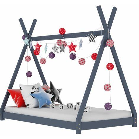 Kids Bed Frame Grey Solid Pine Wood 90x200 cm - Grey