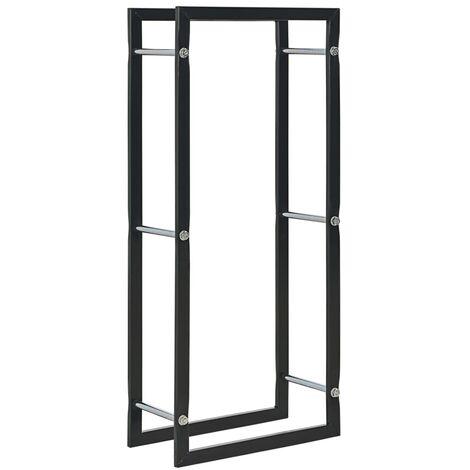 Firewood Rack Black 44x20x100 cm Steel - Black