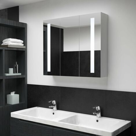 LED Bathroom Mirror Cabinet 89x14x62 cm - White