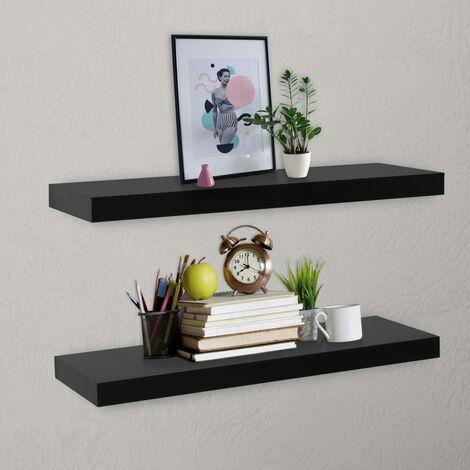 Floating Wall Shelves 2 pcs Black 80x20x3.8 cm - Black