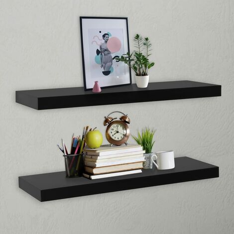 Floating Wall Shelves 2 pcs Black 100x20x3.8 cm - Black