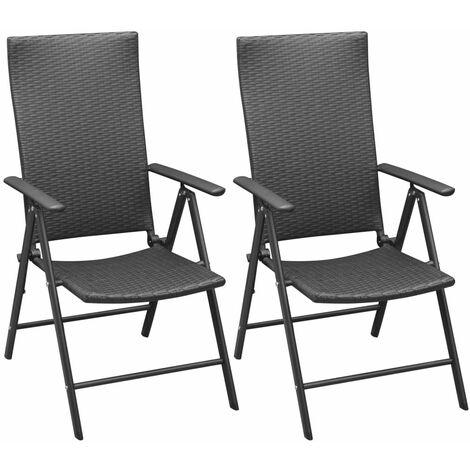 Stackable Garden Chairs 2 pcs Poly Rattan Black - Black