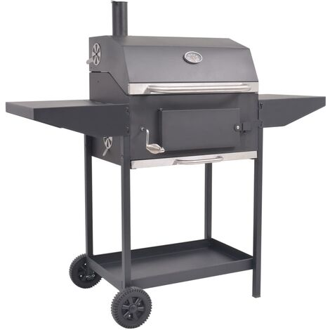 BBQ Charcoal Smoker with Bottom Shelf Black - Black