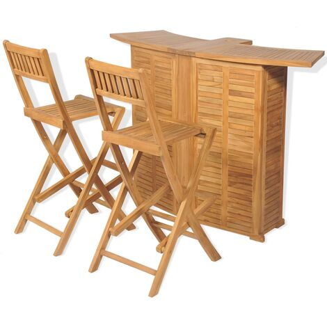 3 Piece Bistro Set with Folding Chairs Solid Teak Wood - Brown