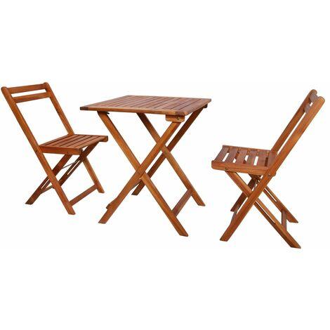 3 Piece Folding Bistro Set Solid Acacia Wood - Brown