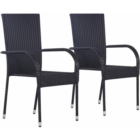 Stackable Outdoor Chairs 2 pcs Poly Rattan Black - Black