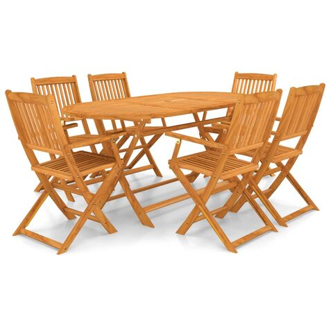 7 Piece Folding Outdoor Dining Set Solid Acacia Wood - Brown