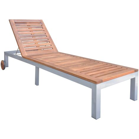Sun Lounger Solid Acacia Wood - Brown