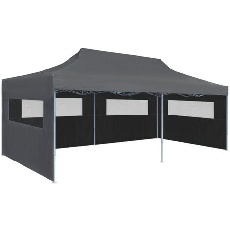 Folding Pop-up Partytent with Sidewalls 3x6 m Anthracite - Anthracite