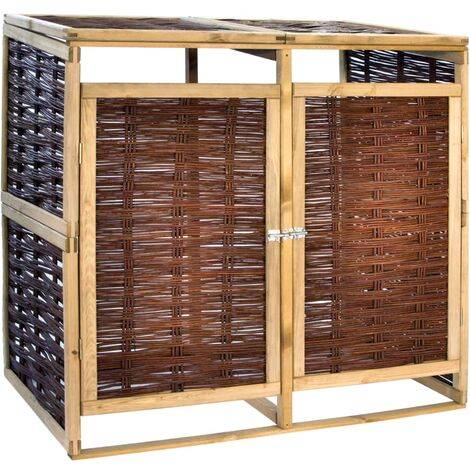 Double Bin Shed Pinewood and Wicker - Brown