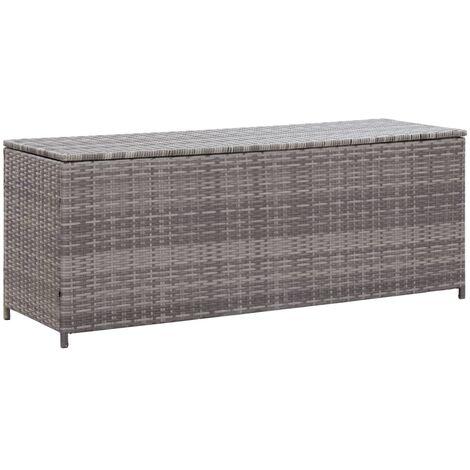Garden Storage Box Grey 150x50x60 cm Poly Rattan - Grey