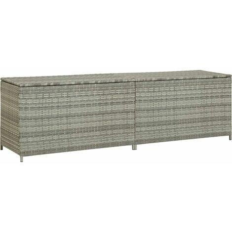 Garden Storage Box Poly Rattan 200x50x60 cm Grey - Grey