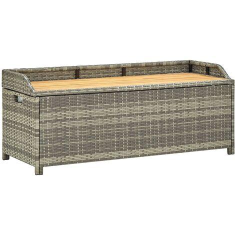 Garden Storage Bench 120 cm Poly Rattan Grey - Grey