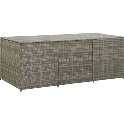 Garden Storage Box Poly Rattan 180x90x75 cm Grey - Grey