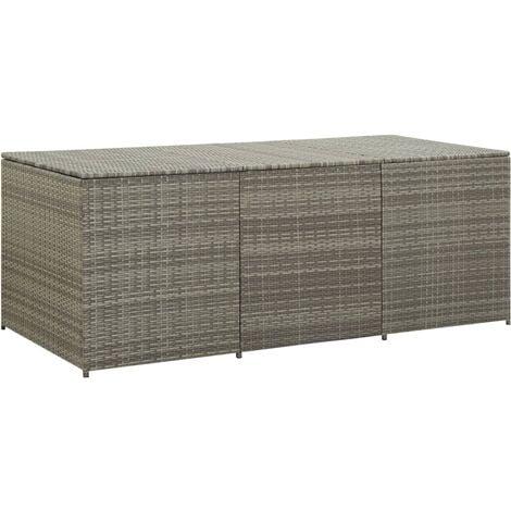 Garden Storage Box Poly Rattan 180x90x75 cm Grey - Grey