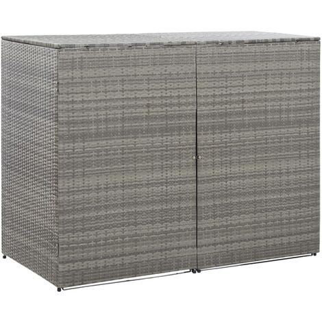 Double Wheelie Bin Shed Anthracite 153x78x120 cm Poly Rattan - Anthracite