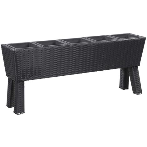 Garden Raised Bed with Legs and 5 Pots 118x25x50 cm Poly Rattan Black - Black