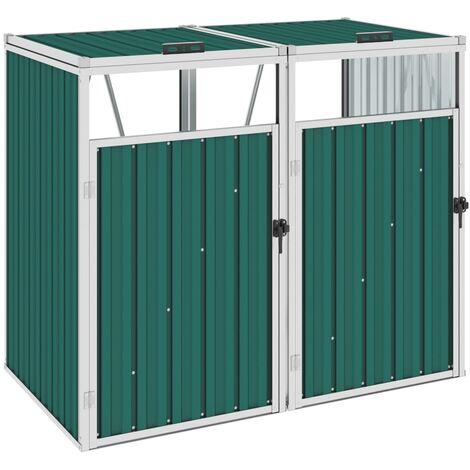 Double Garbage Bin Shed Green 143x81x121 cm Steel - Green