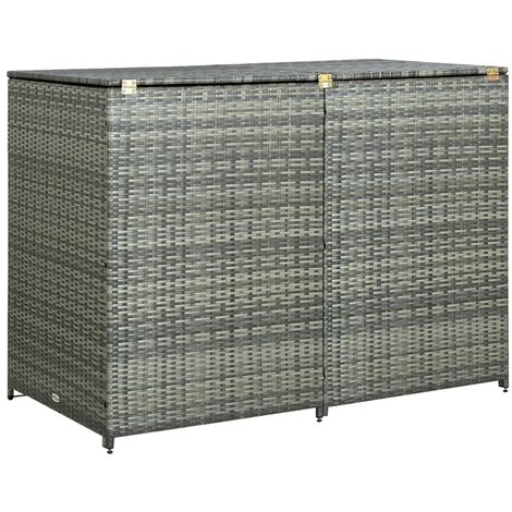 Double Wheelie Bin Shed Poly Rattan Anthracite 148x77x111 cm - Anthracite